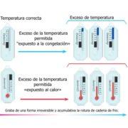 Indica las temperaturas ascendentes (+8ºC) y descendentes (+2ºC)